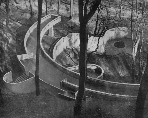 Berthold Lubetkin & Tecton, bear ravine, Dudley Zoo, ca. 1936